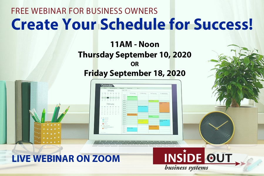 Webinar create your schedule for success September 2020